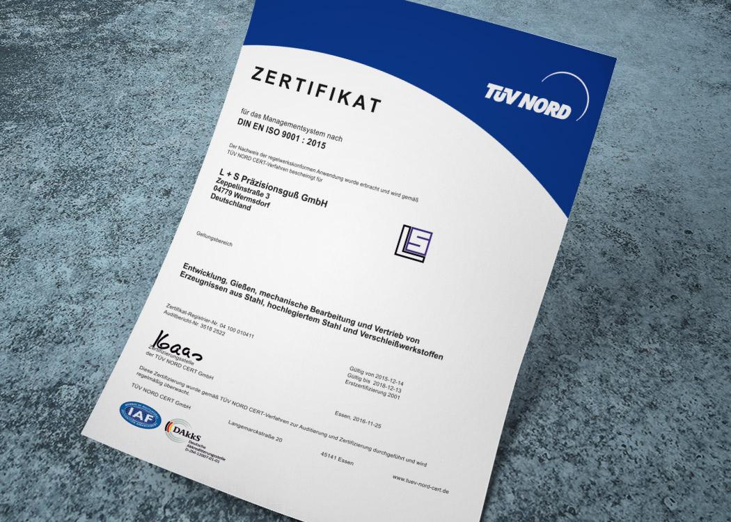 Ein Zertifikat der Gießerei L+S Präzisionsguß GmbH